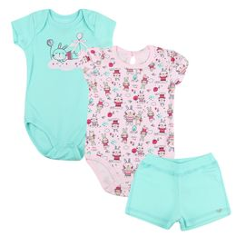 Kit-Body-e-Shorts-Coelhinhos---Rosa-com-Verde---Have-Fun-
